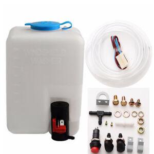 12V 1.8L Plastic&Metal Car Windshield Washer Reservoir Pump Bottle Hose Jets Kit