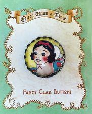 "VINTAGE Snow White 1"" GLASS DOME Studio BUTTON Brass Filigree FAIRY TALE Story"