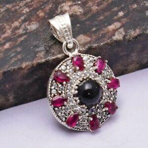 "Amethyst Pink Topaz Ethnic Handmade Pendant Jewelry 1.2"" AP 30445"