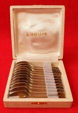 Ercuis Coffret 12 cuillères Coquille Moka Vermeil Métal Argenté  Café Christofle