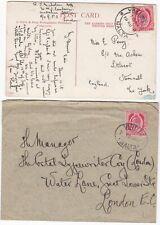 # 1908/11 NAVAL BOOKSELLER COVER & PPC EX HMS CAMBRIAN? VALLETTA MALTA TO UK