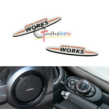 2PCS 3D Steel JCW Speaker Steering Wheel Button Emblem Stickers for Mini Cooper