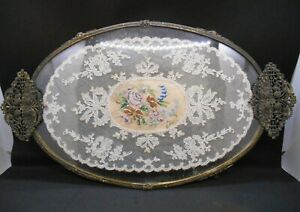 Antique Petit Point Floral Lace Embroidery Glass Gilt Dressing Table Vanity Tray