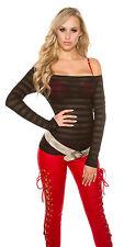 Sexy manches longues Top Shirt M 36/38 bustier Carmen transparent noir #