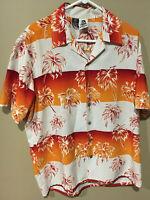 Kennington Men's Hawaiian Camp Shirt Large Floral Palm Tree Aloha Vintage Tribal