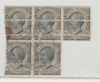 FRANCOBOLLI - 1919 REGNO VITTORIO E. BLOCCO 5 VALORI CON DIVERSE VARIETA C/6128