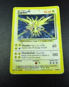 16/102 Zapdos RARE HOLO BASE SET WOTC Pokemon Trading Card Game #GR