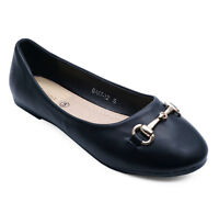 LADIES FLAT BLACK SLIP-ON DOLLY BALLERINA BALLET SMART CASUAL COMFY PUMPS UK 3-8
