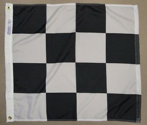 Black & White Printed Checkered Racing Indoor Outdoor Nylon Flag Grommets 2'X2'