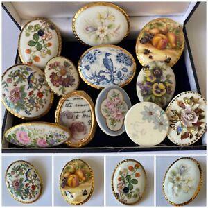 Job Lot Vintage Jewellery Porcelain Floral Brooches inc Aynsley, Lucie Allen etc