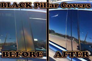 Black Pillar Posts for Dodge Ram 02-08 (MEGA Cab) 4pc Set Door Cover Trim Piano