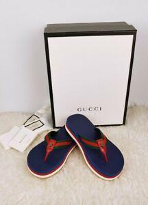 Gucci Platform Web Red Green Tiger Head Men FlipFlops Thong Sandals 9 9.5 US NIB