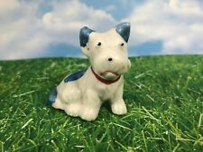 Blue And White Porcelain Japanese Terrier Dog Mini Figurine 6A
