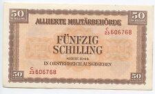 £GB348 - Paper Money Austria 50 Schilling 1944 Pick#109 XF Allied Occupation