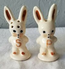 Vintage Pair of Pottery Bunny Rabbit Salt and Pepper Shakers