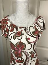 Tommy Hilfiger Ladies Sz M Top Floral Elasticated Tshirt  Paisley Blouse Smart