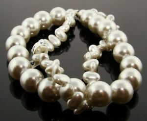 """VINTAGE JAPAN GREY PEARL 2 STRAND 10mm. ROUND NUGGET LUCITE BEAD 8"""" SECTION A985"""