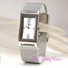 Diseño Elegante Chainmail Malla Acero Inoxidable Plata Rodio Plt Reloj Unisex