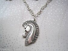 *HORSE HEAD PENDANT CHARM* Necklace Equestrian GIFT BAG Silver Plated Chain Pony
