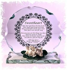 Sweetheart Love Poem Cut Glass Plaque Gift,Valentine Unique  Limited #1