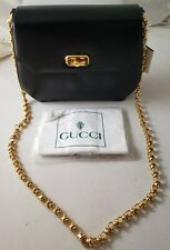 Vintage Authentic GUCCI Black Shoulder Purse Handbag with Chain Strap Never Used