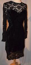 Vintage After Six black lace Gothic witch velvet Halloween Costume Dress size 10