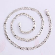 """Men Girls 9ct 9K White """"Gold Filled"""" Curb Ring 24"""" Necklace Chain. W=5mm, """"Gift"""""""