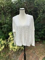 Express Women's Size S White Cable Knit Oversized V-Neck Long Sleeve Sweater