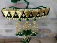 Babosa Sakhi Bollywood Green Velvet Base Bridal Choker Pearl Jhumki Necklace Set