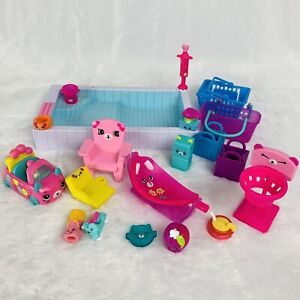 Shopkins Happy Places Furniture and Accessories Lot Backyard Pool Chairs Car