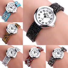Fashion Women Leather Strap Crystal Rhinestone Stone Bracelet Quartz Wrist Watch