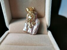 Gold plated 925 sliver baroque pearl pendant
