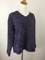 J Jill Womens L Large Purple Blue Wool Blend Textured Long Sleeve Knit Sweater
