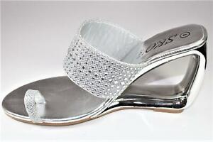 New Women Silver Glitter Rhinestone Ring Toe Sliders Slip On Sandals Heel Shoe
