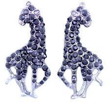 Elegant silvery black giraffe charm earrings