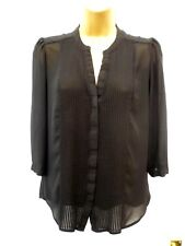 H&M Ladies Size 10 EUR 38 Black Smart Work V Neck 3/4 Sleeve Tunic Blouse Top