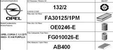 132/2 KIT FILTRI TAGLIANDO OPEL CORSA C 1.3 CDTI KW 51 CV 70 PURFLUX