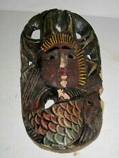 Carved Ethnographic Face Hanging Primitive Driftwood Wall Art Mermaid? Goddess?