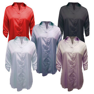 Womens Plus Side Slit Shirt Ladies Long Sleeve Silk Touch Button Collar Blouse