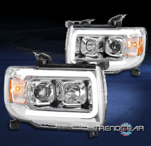 For 2015-2019 GMC Canyon Pickup LED Tube Projector Headlights Lamps Chrome LH+RH