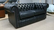 747a54b1489c7 CHESTERFIELD TUFTED BUTTONED 2 SEATER SOFA COUCH REAL DISTRESSED BLACK  LEATHER