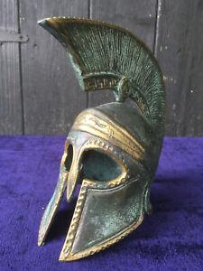 Vintage Antique Style ROMAN CENTURION HELMET in Cast Solid Brass with Verdigris