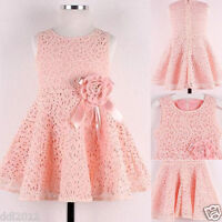 Flower Kids Girls Dress Baby Toddler Lace Princess Party Birthday Wedding Dress