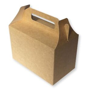 20 BROWN CARDBOARD LUNCH BOXES, PICNIC BAGS, CHILDRENS FOOD BOXES, PARTY BAGS