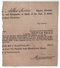 RARE 1790s RHODE ISLAND GOVERNOR Arthur Fenner SIGNED DOCUMENT RI Political