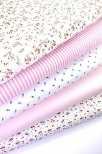 FABRIC BUNDLE PINK FAT QUARTERS POLYCOTTON FLORAL SPOT STRIPE  55CM 22""