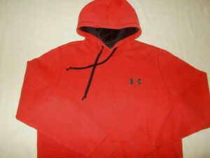 UNDER ARMOUR COLD GEAR RED FITTED HOODED SWEATSHIRT MENS LARGE EXCELLENT COND.