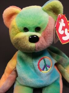 """TY BEANIE BABY Rare Retired 1996 """"Peace"""" Bear With Tag Errors Excellent Used PVC"""