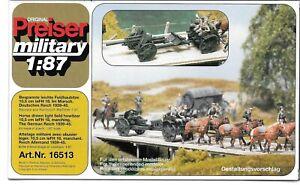 1/87 H0 Scale - Preiser 16513 German WWII Horse Drawn Artillery 10.5cm Field Gun