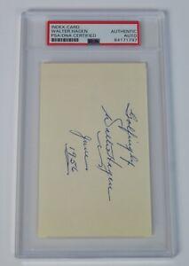 Walter Hagen GOLF HOF Signed Autograph 3x5 Index Card JSA PSA Slab d. 1969